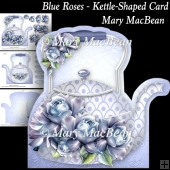 Blue Roses - Kettle-Shaped Card