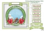 Christmas Poinsettia Robin Wreath Card Topper & Tags