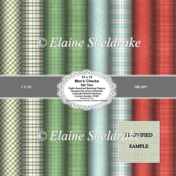 Mens Check Faux Fabrics Set Two 12 x 12 Backing Papers for Craft