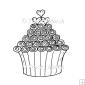 Swirly Cupcake Digital Stamp - Commercial and Personal Use