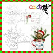 Beatrice the Bear hot cocoa and sentiment Digi stamp