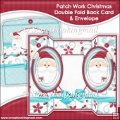 Patch Work Christmas Oval Double Foldback Card