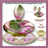 Birthday Perfume Bottle Shaped Easel Card
