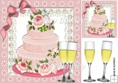 Birthday cake with roses and champagne 8x8