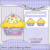Lilac Cupcake Kisses PDF Penny Slider Card Download