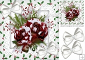 pretty winter red roses with snow & holly with bows 8x8
