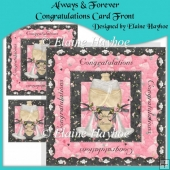 Always & Forever Congratulations Card Front with Decoupage