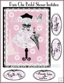 Paris Chic Bridal Shower Invitation Topper with Greeting Panels