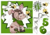 cute donkey with bumble bees in green funky star frame 8x8