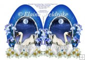 Moonlight Swans Easter Egg - Faberge Style Egg Cut & Fold Card