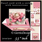 Easel Card With A Swing pink rose