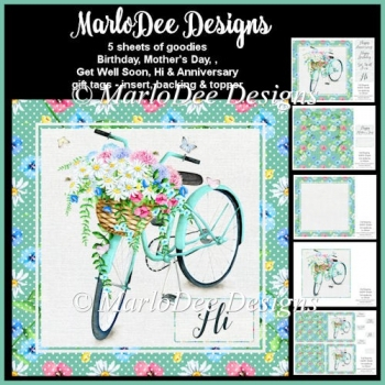 Shabby Chic - Bicycle with Basket of Flowers - Mini Card Kit