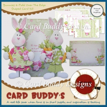Bunnies 4-Fold Over The Edge Shaped Card Kit