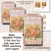BABY - Shabby Pinks Gift Box Set with FREE MATCHING CARD TOPPER
