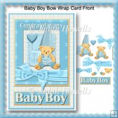 Baby Boy Bow Wrap Card Front
