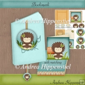 Bookmark with box and notecard Hedgehog
