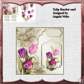 Tulip bracket card front with decoupage