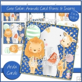 Cute Safari Animals 7.4in & 5.5in Card Fronts & Inserts