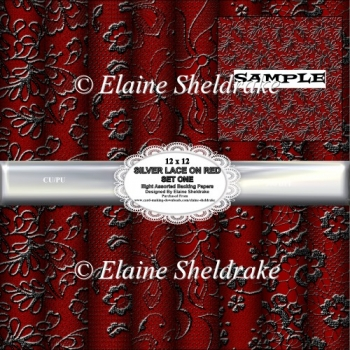 Silver Lace On Red Set One - Eight Assorted 12 x 12 Papers