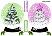 Christmas tree snow globes with holly and berries A5