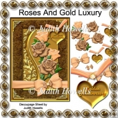 Roses And Gold Luxury Decoupage Card Front