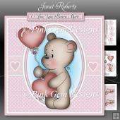Valentine Bear Pink Mini Kit. Birthday or Valentine with Ages