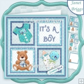NEW BABY BOY SQUARES 7.5 Decoupage & Insert Kit