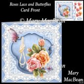 Roses Lace and Butterflies Card Front