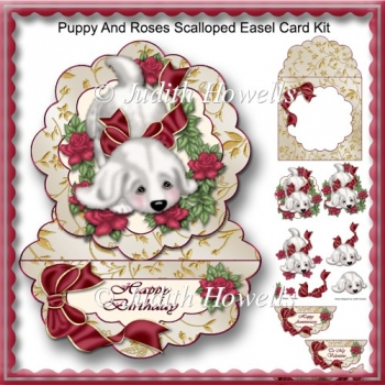 Puppy And Roses Scalloped Easel Card Kit