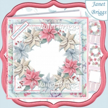 PASTEL POINSETTIA WREATH BLANK 7.5 Decoupage & Insert Mini Kit