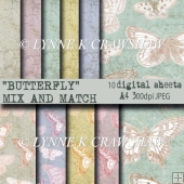 BUTTERFLY Mix and Match - 10 x A4 sized digital papers