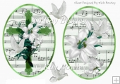 two lovely toppers of a green cross & white lilies with doves