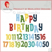 Birthday Numbers & Happy Birthday Word Art 2