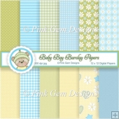 Baby Boy Barclay Bear Paper Set - 12 Sheets