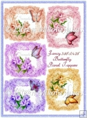 Fancy Butterfly Panel Toppers for Cards, Tags, Crafts Set of 5