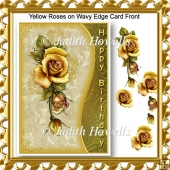 Yellow Roses on Wavy Edge Card Front