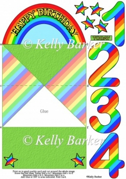 Birthday Rainbow Diamond Top Spring Age Card