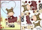 Little Country Girl & her Dog Card Front & Decoupage