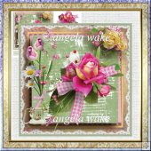 A rose and a telephone card with decoupage