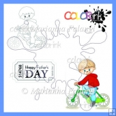 Peter Bicycle and sentiment digital stamps