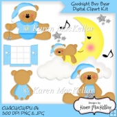 CU4CU Goodnight Boy Bears Clipart Digital Printable 300dpi