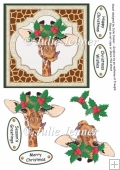Christmas giraffe with holly quick card A4 sheet