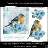 Baby Bird and Blue Rose's Topper with Decoupage