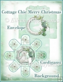 Cottage Chic Teddy Bear Christmas Cardigami Greeting Set
