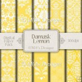 Damask in Lemon Paper Pack CU4CU