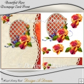 Beautiful Rose Scalloped Lattice Aperture Card