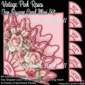 Vintage Pink Roses Fan Square Card Mini Kit