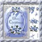 Blue Poinsettia Classic Christmas Card Front