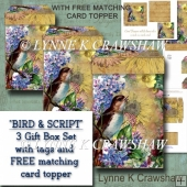 BIRD AND SCRIPT - Gift Box Set with FREE MATCHING CARD TOPPER