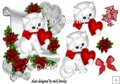 cute white kitty on scroll with red heart/roses for valentine A5